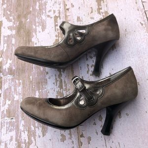 Sofft Brown Leather Mary Jane Heels Size 6.5